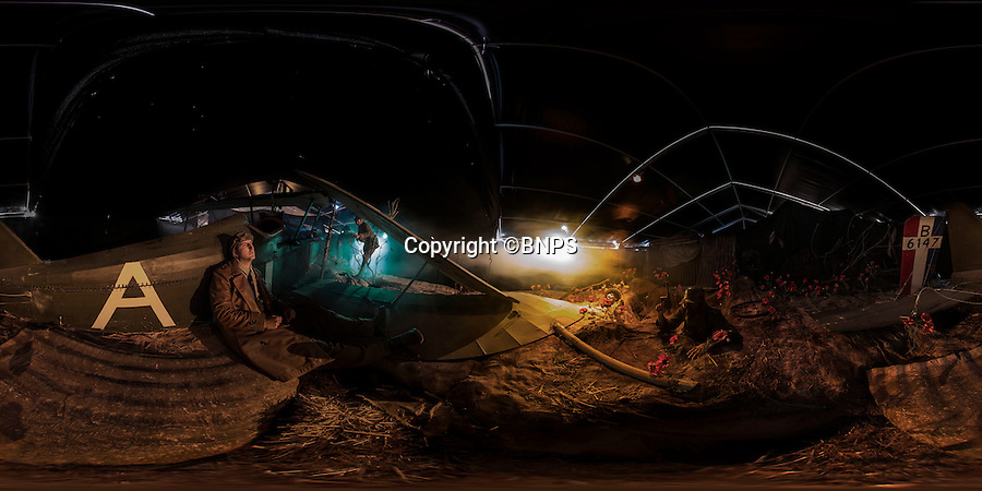 BNPS.co.uk (01202 558833)<br /> Pic: PhilYeomans/BNPS<br /> <br /> 360 Panorama.<br /> <br /> Stunning recreation of a downed British pilot stuck in No Mans Land at the Daily Mail sponsored Chalk Valley History Festival in Dorset.<br /> <br /> Who will get to him first, the British rescue party - or the German soldier creeping up with his gas mask on?<br /> <br /> The festival features this immersive experience for visitors who go from the front line British trench into No mans land and then finally into the German lines.