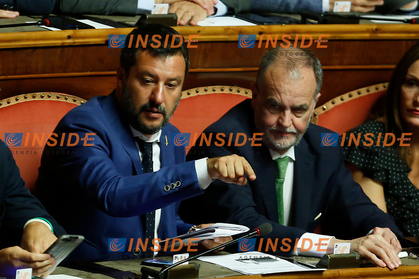 Minister of Internal Affairs Matteo Salvini and Roberto Calderoli<br /> Rome August 13th 2019. Senate. Vote to allow  ore deny the Motion of no confidence to the Italian Government proposed by the Lega Nord party. <br /> Foto Samantha Zucchi Insidefoto