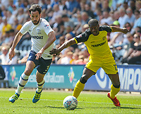 Preston North End's Greg Cunningham goes past Burton Albion's Marvin Sordell<br /> <br /> Photographer Alex Dodd/CameraSport<br /> <br /> The EFL Sky Bet Championship - Preston North End v Burton Albion - Sunday 6th May 2018 - Deepdale Stadium - Preston<br /> <br /> World Copyright &copy; 2018 CameraSport. All rights reserved. 43 Linden Ave. Countesthorpe. Leicester. England. LE8 5PG - Tel: +44 (0) 116 277 4147 - admin@camerasport.com - www.camerasport.com