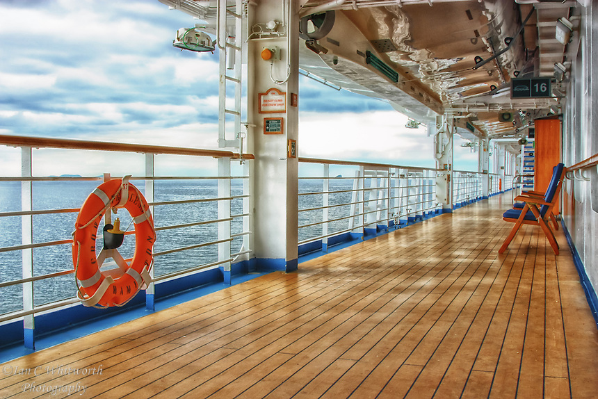 Looking along the deck of the Crown Princess while cruising the British Isles.