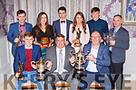 Patrick O'Sullivan Dr Crokes Chairman with the award winners at the Dr Crokes GAA social in the Dromhall Hotel on Friday night front row l-r: Gavin White Player of the Year, Patrick O'Sullivan, Denis Coleman Clubman of the Year. Back row: Aaron Murphy Hurler of the Year, Siobhain Burns Kerry Minor, Chris Doncel Junior POTY, Megan Kiely Ladies POTY, Michael Potts Young POTY and Pat Clifford Supporter of the year