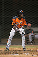 AZL Giants Orange center fielder Patrick Hilson (17) shows bunt during an Arizona League game against the AZL Athletics at Lew Wolff Training Complex on June 25, 2018 in Mesa, Arizona. AZL Giants Orange defeated the AZL Athletics 7-5. (Zachary Lucy/Four Seam Images)