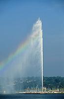 Switzerland. Geneva. Water spout on Lac/Lake Leman. Jet d'Eau. 140 m.