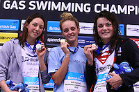 PICTURE BY VAUGHN RIDLEY/SWPIX.COM - Swimming - British Swimming Championships 2012 (Olympic Selection Trials) - Aquatics Centre, Olympic Park, London, England - 10/03/12 - Women's 50m Freestyle Final - (L-R) - Silver - Amy Smith, Gold - Francesca Halsall, Bronze - Jessica Lloyd.