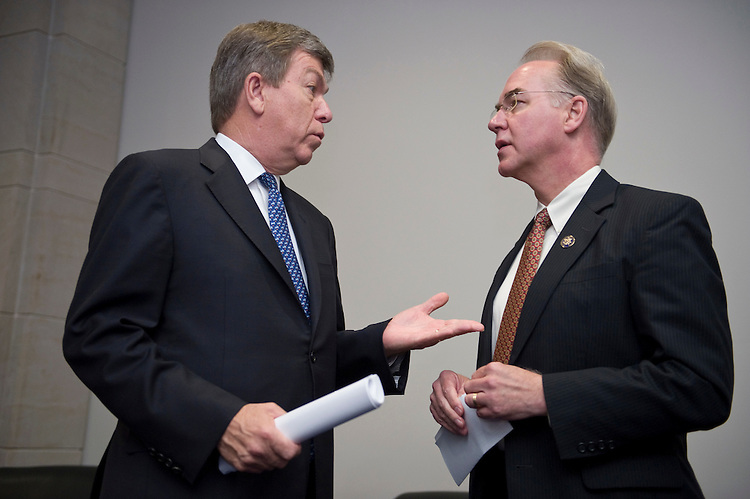 Rep. Roy Blunt, R-Mo., talks with Rep. Tom Price, R-Ga., before the start of the news conference following the House GOP Healthcare Solutions Group meeting on Thursday, June 17, 2010.