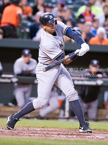 New York Yankees designated hitter Alex Rodriguez (13) bats in the second inning against the Baltimore Orioles at Oriole Park at Camden Yards in Baltimore, MD on Wednesday, April 15, 2015. <br /> Credit: Ron Sachs / CNP<br /> (RESTRICTION: NO New York or New Jersey Newspapers or newspapers within a 75 mile radius of New York City)