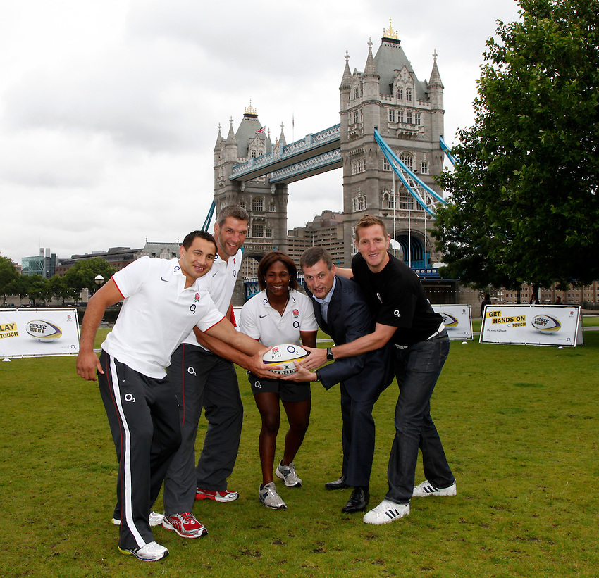 Photo: Richard Lane/Richard Lane Photography. O2 Touch Launch, an RFU initiative aiming to get England playing touch rugby at Potters Field, London. 17/06/2011. (lt to rt) England's Riki Flutey, Simon Shaw and Maggie Alphonsi, Ronan Dunne, UK Chief Executive Officer at O2 and England World Cup Winner, Will Greenwood.