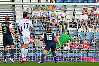 Glasgow, Scotland - July 25, 2012: Hope Solo almost saves the first of two French goals.