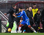 29.02.2020 Hearts v Rangers: Connor Goldson grabs the ball from Daniel Stendel