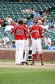 August 18 2008:  David Renfroe (20) is greeted at home plate after a home run by Donavan Tate (23) and Todd Glaesmann (14) during the 2008 Under Armour All-American Game at Wrigley Field in Chicago, Illinois.  (Copyright Mike Janes Photography)