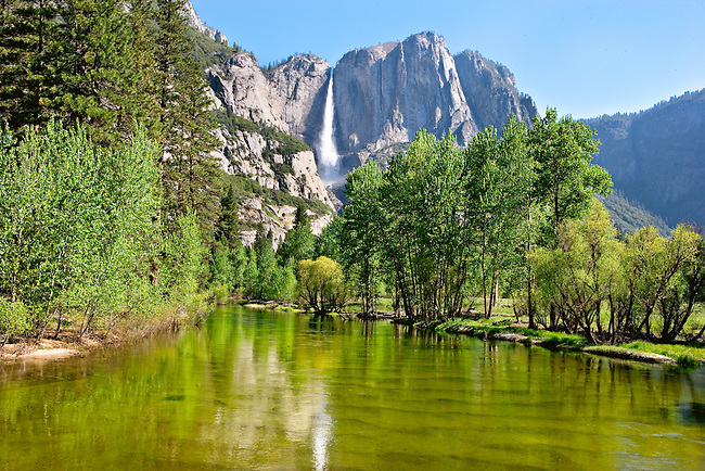 Yosemite Falls reflecting in Merced River in Spring, Yosemite National Park, California