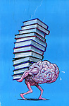 Illustrative image of brain carrying stacked books representing burden