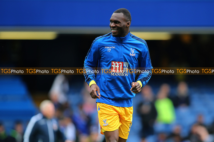 Christian Benteke of Crystal Palace is all smiles during warm up during Chelsea vs Crystal Palace, Premier League Football at Stamford Bridge on 1st April 2017
