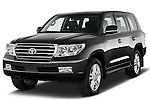 Angular Front three quarter view of 2011 Toyota Land Cruiser V8 VX SUV Stock Photo