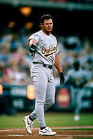 Jason Giambi of the Oakland Athletics during a game at Dodger Stadium in Los Angeles, California during the 1997 season.(Larry Goren/Four Seam Images)