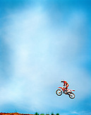 USA, Tennessee, motocross rider getting big air during a race