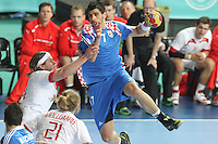 25.01.2013 Barcelona, Spain. IHF men's world championship, Semi-final. Picture show Lovro Sprem  in action during game between Spain vs Slovenia at Palau St. Jordi