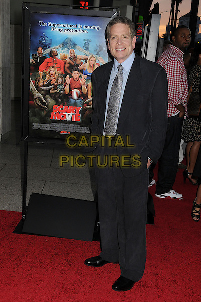 "David Zucker.Attending the ""Scary Movie 5"" Los Angeles film premiere held at the Cinerama Dome,  Hollywood, California, USA, .11th April 2013..full length  blue shirt grey gray suit tie hands in pockets .CAP/ADM/BP.©Byron Purvis/AdMedia/Capital Pictures"