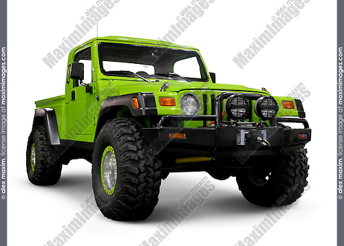 Custom Jeep Wrangler TJ with large wheels. Isolated on white background with clipping path.
