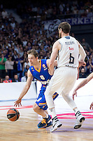 Real Madrid's Andrés Nocioni and Khimki Moscow's Petteri Koponen during Euroleague match at Barclaycard Center in Madrid. April 07, 2016. (ALTERPHOTOS/Borja B.Hojas) /NortePhoto