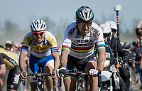 Peter Sagan (SVK/Bora-Hansgrohe) thrown back in the field at the Carrefour de l'Arbre sector after 2 mechanicals <br /> <br /> 115th Paris-Roubaix 2017 (1.UWT)<br /> One Day Race: Compiègne › Roubaix (257km)