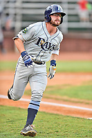 Princeton Rays second baseman Jake Palomaki (4) runs to first base during game two of the Appalachian League Championship Series against the Elizabethton Twins at Joe O'Brien Field on September 5, 2018 in Elizabethton, Tennessee. The Twins defeated the Rays 2-1 to win the Appalachian League Championship. (Tony Farlow/Four Seam Images)