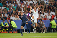 PARIS, FRANCE - JUNE 28: Amel Majri #10, Tobin Heath #17 during a 2019 FIFA Women's World Cup France quarter-final match between France and the United States at Parc des Princes on June 28, 2019 in Paris, France.