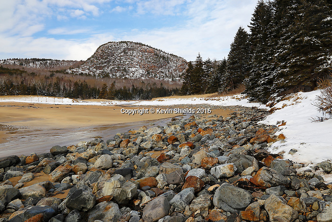 Winter view of the Beehive from Sand Beach, Acadia National Park, Maine, USA