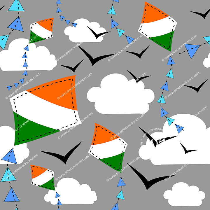 Seamless repeatable pattern tile vector background with Indian flag kites flying in sky with clouds and birds.<br />