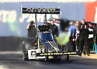 Feb 3, 2016; Chandler, AZ, USA; NHRA top fuel driver Tony Schumacher during pre season testing at Wild Horse Pass Motorsports Park. Mandatory Credit: Mark J. Rebilas-USA TODAY Sports