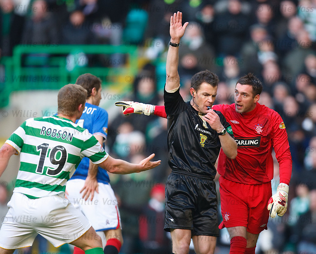 Referee Steve Conroy rules out Marc Antoine Fortune's goal as he was impeding goalkeeper Allan McGregor