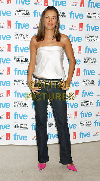 LIZ BONNIN          .Attends Party In The Park launch photo call, Hard Rock Cafe..29th May 2003.full length, full-length, pink shoes, white silk, satin top, strapless.www.capitalpictures.com.sales@capitalpictures.com.Supplied By Capital PIctures