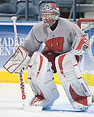 Brian Elliott - The University of Wisconsin Badgers practiced on Friday, April 7, 2006, at the Bradley Center in Milwaukee, Wisconsin.  The following evening the Badgers defeated Boston College 2-1 to win the Title.