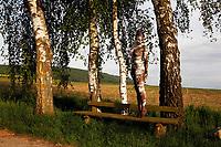 Nature Art: Birch Bodypainting with Model Jana in Behrensen - Calendar sheet of the 'Nature Art Bodypainting in Landscpapes' calendar 2018 by the bodypaint artist Joerg Duesterwald and the photographer Tschiponnique Skupin