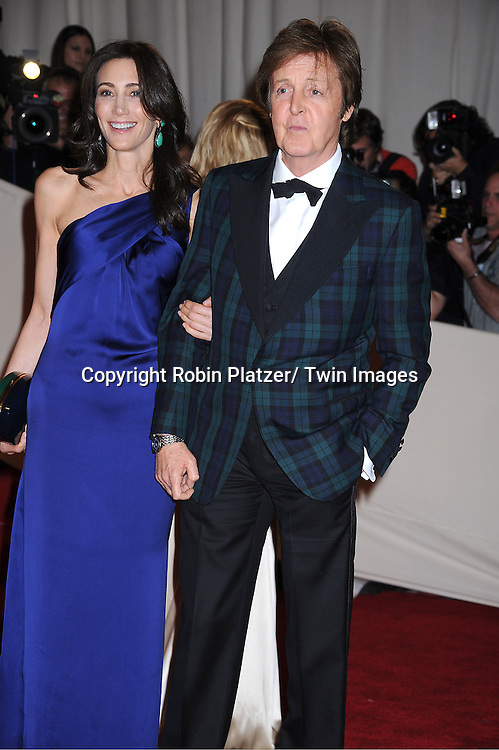 "Paul McCartney and Nancy Shevell arriving at The Costume Institute Gala Benefit celebriting ""Alexander McQueen: Savage Beauty"" at The Metropolitan Museum of Art in New York City on May 2, 2011."