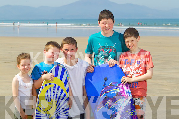 Madison, Rhys, Calum, Jack and Darragh Noonan, enjoying the sunshine at Banna beach on Tuesday.