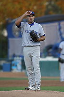 Norge Ruiz (37) of the Stockton Ports pitches against the Rancho Cucamonga Quakes at LoanMart Field on August 15, 2017 in Rancho Cucamonga California. Rancho Cucamonga defeated Stockton, 11-9. (Larry Goren/Four Seam Images)