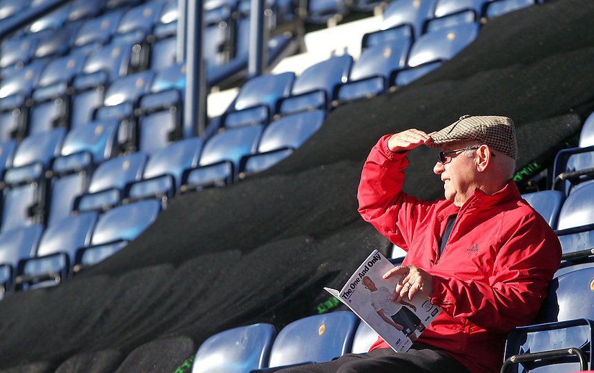 Fleetwood Town fans wait for kick off<br /> <br /> Photographer Rich Linley/CameraSport<br /> <br /> Football - The Football League Sky Bet League One - Preston North End v Fleetwood Town - Saturday 25th October 2014 - Deepdale - Preston<br /> <br /> &copy; CameraSport - 43 Linden Ave. Countesthorpe. Leicester. England. LE8 5PG - Tel: +44 (0) 116 277 4147 - admin@camerasport.com - www.camerasport.com