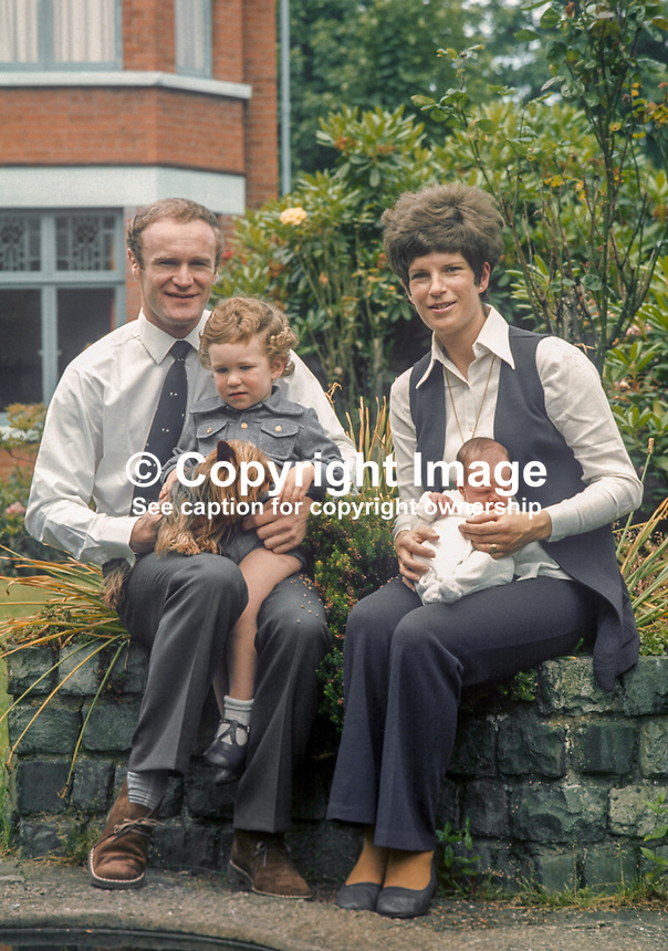 Mike Gibson, Irish, International, rugby player, with wife, Moyra Gibson, baby  daughter, Jan, 2 year old son, Colin, at their home, Belfast, N Ireland. Photo taken just before Mike Gibson left on British & Irish Lions Tour of South Africa. 351/74, 197406200351D..Copyright Image from Victor Patterson, 54 Dorchester Park, Belfast, UK, BT9 6RJ..Tel: +44 28 9066 1296.Mob: +44 7802 353836.Voicemail +44 20 8816 7153.Skype: victorpattersonbelfast.Email: victorpatterson@mac.com.Email: victorpatterson@ireland.com (back-up)..IMPORTANT: If you wish to use this image or any other of my images please go to www.victorpatterson.com and click on the Terms & Conditions. Then contact me by email or phone with the reference number(s) of the image(s) concerned.