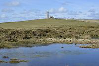 The Old Light from Rocket Pole Pond, Lundy, Devon.