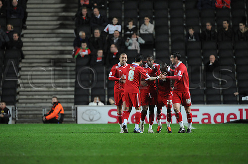 20.03.2012 Milton Keynes, England. Milton Keynes Dons v Leyton Orient.  Orient level the scores. Goal scored by Jamal Campbell-Ryce. NPower League 1 game played at Stadium MK.