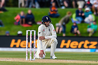 Joe Root of England disappointed after a missed chance during the final day of the Second International Cricket Test match, New Zealand V England, Hagley Oval, Christchurch, New Zealand, 3rd April 2018.Copyright photo: John Davidson / www.photosport.nz