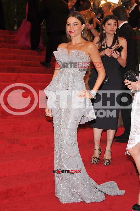 Sofia Vergara at the 'Schiaparelli And Prada: Impossible Conversations' Costume Institute Gala at the Metropolitan Museum of Art on May 7, 2012 in New York City. © mpi03/MediaPunch Inc.