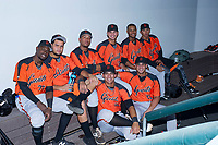 Members of the AZL Giants before Game Two of the Arizona League Championship Series against the AZL Cubs on September 6, 2017 at Sloan Park in Mesa, Arizona. AZL Giants defeated the AZL Cubs 6-5 to even up the Arizona League Championship Series at one game a piece. (Zachary Lucy/Four Seam Images)