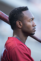 Domonic Brown (12) of the Lehigh Valley IronPigs during the game against the Charlotte Knights at BB&T BallPark on May 30, 2015 in Charlotte, North Carolina.  The IronPigs defeated the Knights 1-0.  (Brian Westerholt/Four Seam Images)