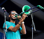 Corey Peyton of the Soul Rebels performs during the New Orleans Jazz & Heritage Festival in New Orleans, LA.