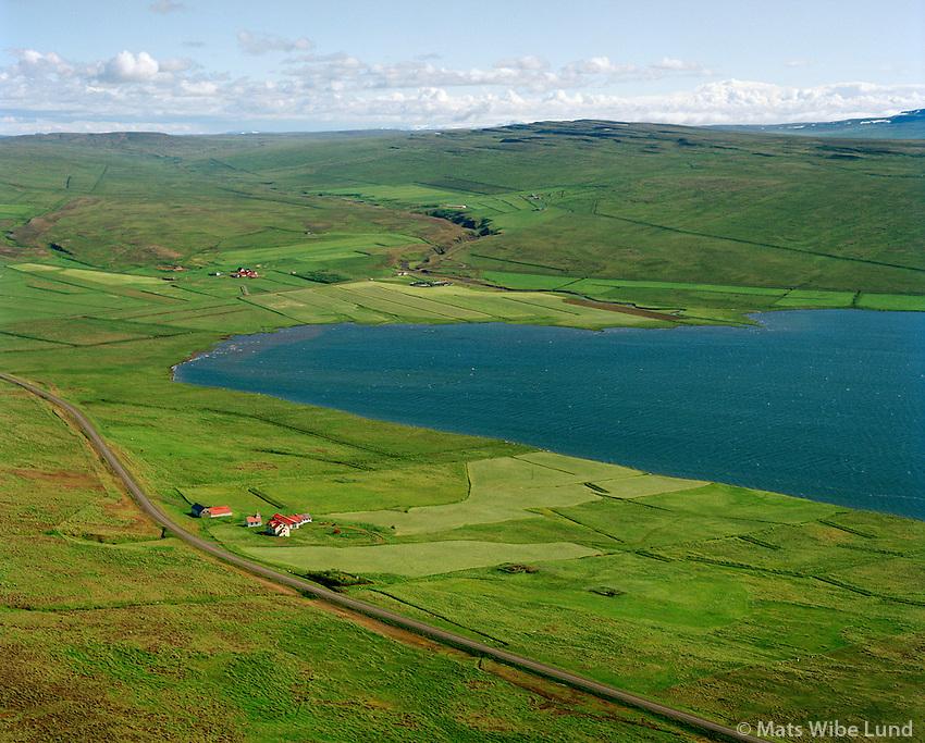 Svínavatn séð til suðurs, Húnavatnshreppur áður Svínavatnshreppur / Svinavatn (farm and lake) - viewing south, Hunavatnshreppur former Svinavatnshreppur.