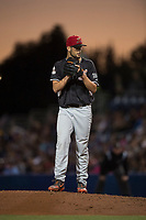 Salem-Keizer Volcanoes relief pitcher Alex DuBord (49) gets ready to deliver a pitch during a Northwest League game against the Hillsboro Hops at Ron Tonkin Field on September 1, 2018 in Hillsboro, Oregon. The Salem-Keizer Volcanoes defeated the Hillsboro Hops by a score of 3-1. (Zachary Lucy/Four Seam Images)