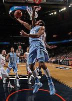 North Carolina forward James Michael McAdoo (43) shoots the ball during an NCAA basketball game against Virginia Monday Jan. 20, 2014 in Charlottesville, VA. Virginia defeated North Carolina 76-61.