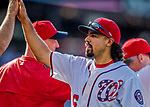 30 April 2017: Washington Nationals third baseman Anthony Rendon celebrates a win against the New York Mets at Nationals Park in Washington, DC. The Nationals defeated the Mets 23-5, with the Nationals setting several individual and team records, in the third game of their weekend series. Mandatory Credit: Ed Wolfstein Photo *** RAW (NEF) Image File Available ***